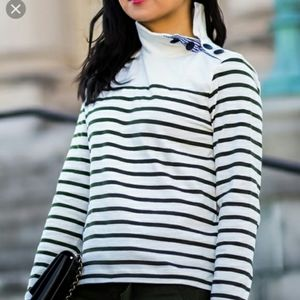 J.CREW Striped button shoulder turtle neck
